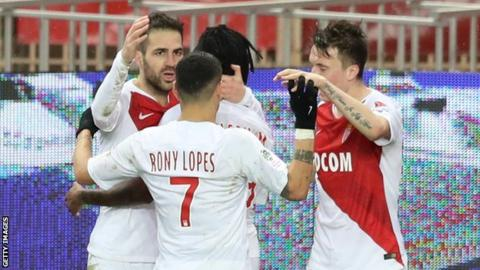 Cesc Fabregas celebrates his first goal for Monaco against Toulouse in Ligue 1