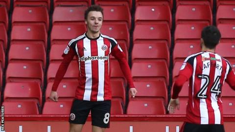 Stefan Scougall celebrates a goal for Sheffield United