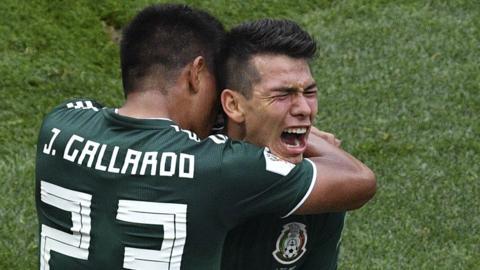 Hirving Lozano (right) celebrates scoring for Mexico