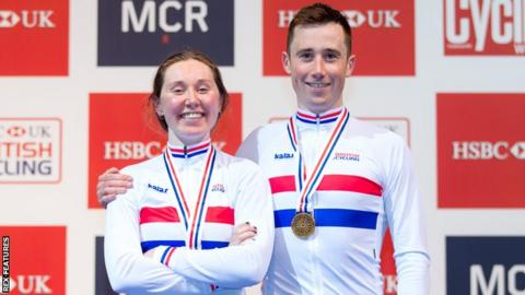 Katie and John Archibald both won golds in the British Championships points races