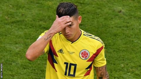 Colombia's James still doubtful for England game
