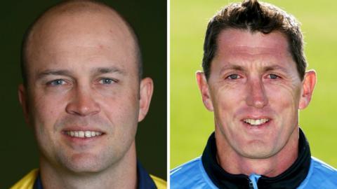 Warwickshire batsman Jonathan Trott (left) and Sussex coach Jon Lewis