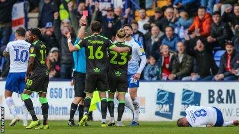 Forest Green's Gavin Gunning is sent off