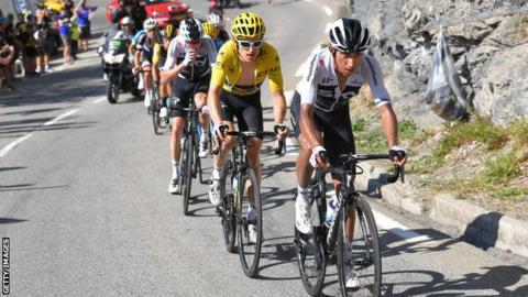 Team Sky's Egan Bernal leads Geraint Thomas and Chris Froome up a climb at the 2018 Tour de France