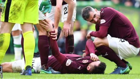 John Souttar was injured in Sunday's 4-0 loss to Celtic