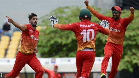 Zimbabwe celebrate beating Sri Lanka