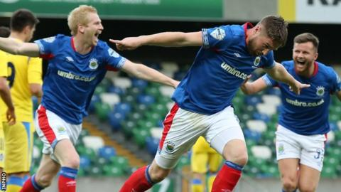 Mark Stafford celebrates after putting Linfield ahead in the fifth minute