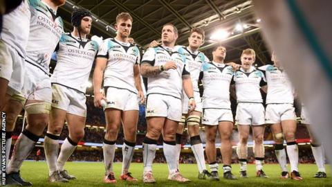 Paul James talks to his Ospreys team-mates following defeat against Cardiff Blues