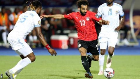 Mohamed Salah prepares to take a shot against DR Congo