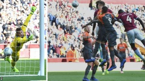 Swansea City goalkeeper Kristoffer Nordfeldt could do nothing about Tammy Abraham's towering header creeping into his bottom right corner