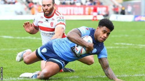 St Helens centre Kevin Naiqama scores a try
