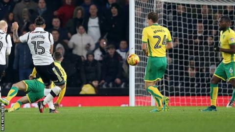 Bradley Johnson scores against Norwich City