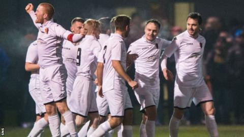 East Kilbride's Sean Winter (second from right) celebrates having doubled the lead