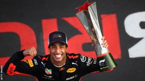 Daniel Ricciardo celebrates winning the Chinese Grand Prix
