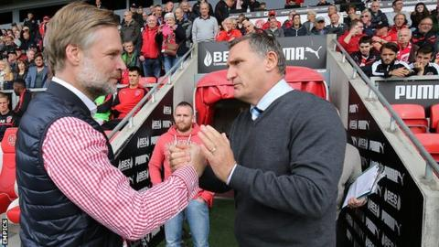 Former Coventry City manager Steven Pressley is greeted warmly by his Sky Blues successor Tony Mowbray before kick-off at the Highbury Stadium