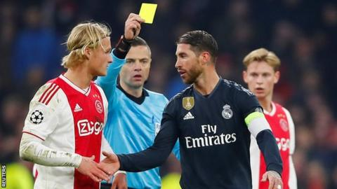 Sergio Ramos charged with getting booked deliberately against Ajax