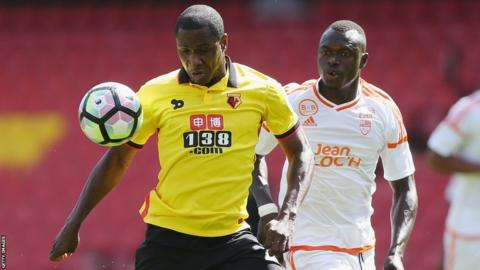 Odion Ighalo (left) in action against Lorient in a pre-season friendly
