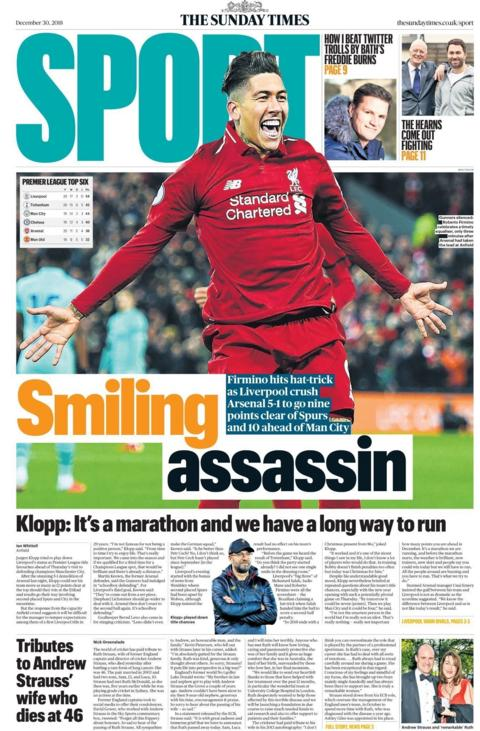 The front page of the Sunday Times sport supplement