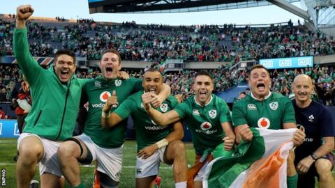 Ireland players celebrate historic first-ever success over the All Blacks