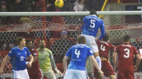St Johnstone's Joe Shaughnessy heads the opening goal
