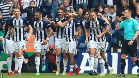 West Brom celebrate Rondon goal