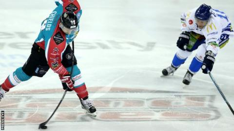 Giants forward Colin Shields on the attack against Coventry Blaze