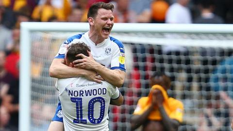 Connor Jennings of Tranmere Rovers celebrates with James Norwood