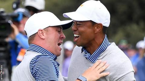 American duo Justin Thomas (left) and Tiger Woods