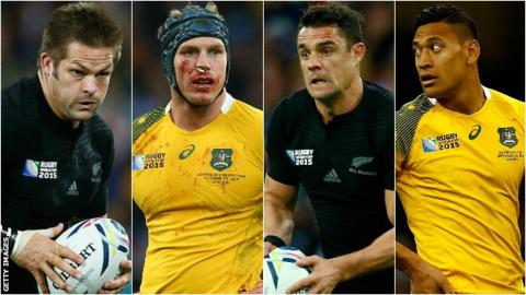 New Zealand captain Richie McCaw, Australia number eight David Pocock, New Zealand fly-half Dan Carter and Australia full-back Israel Folau