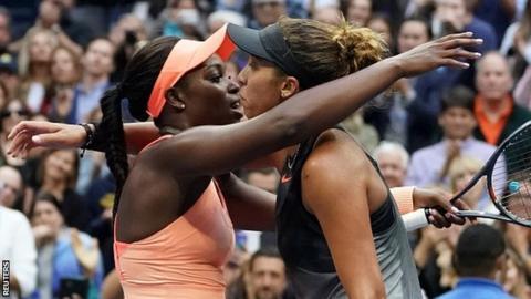 Sloane Stephens and Madison Keys embrace