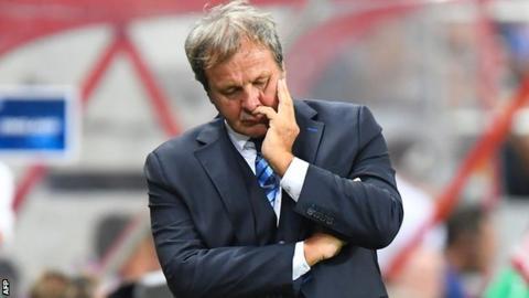 Slovakia head coach Jan Kozak shows his disappointment in Slovenia