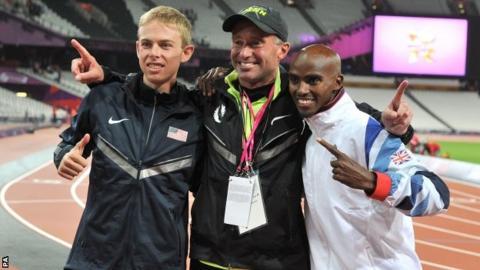 Galen Rupp, coach Coach Alberto Salazar and Mo Farah