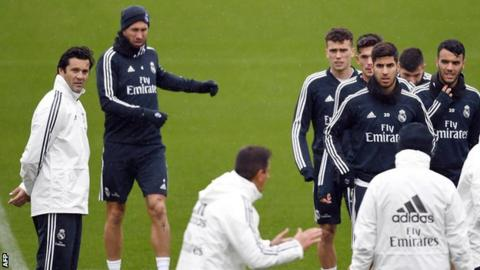 Santiago Solari oversees his first training session as Real Madrid's interim coach