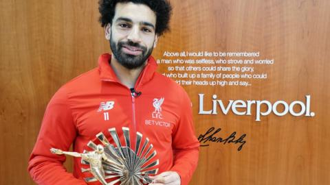 Mohamed Salah with his African Footballer of the Year award