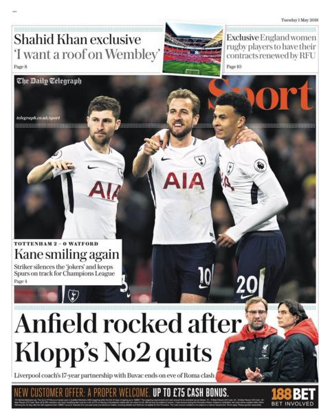 Telegraph back page on Tuesday