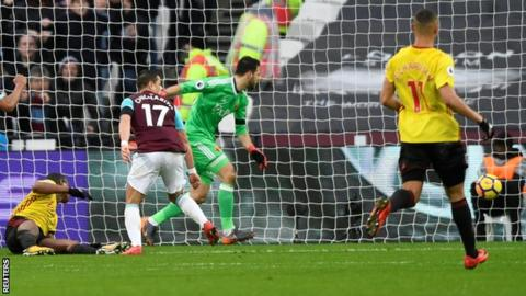 West Ham take the lead against Watford
