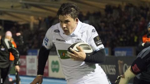 Sam Johnson in action for Glasgow