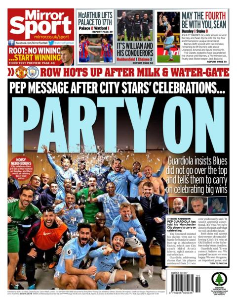 On the Mirror back page Pep Guardiola tells his Manchester City players to continue celebrating wins