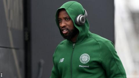 Moussa Dembele at Glasgow airport on Sunday as Celtic flew out to Athens