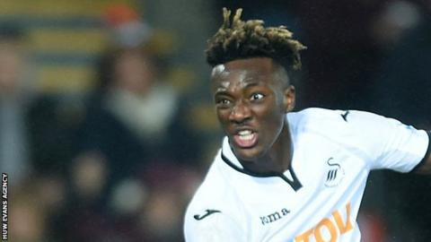 Tammy Abraham watches a shot at goal for Swansea