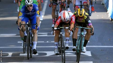 Tour de France: Caleb Ewan edges thrilling sprint finish to