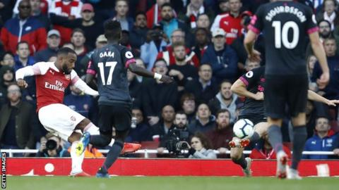 Alexandre Lacazette scores Arsenal's first goal