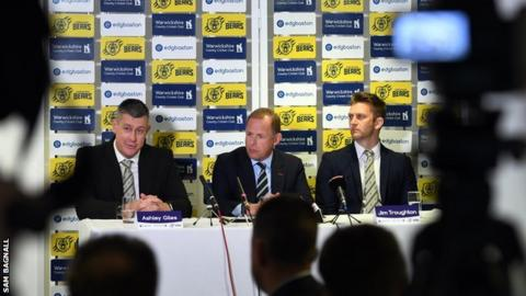 Sport director Ashley Giles (left) and coach Jim Troughton (right) were officially unveiled by chief executive Neil Snowball at an Edgbaston press conference