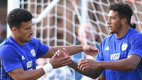 Idriss Saadi (L) of Cardiff City celebrates his goal with Nathaniel Mandez-Laing