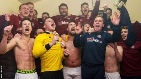 Linlithgow Rose celebrate their Scottish Cup success