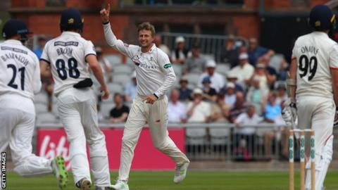 Yorkshire's Joe Root (centre) celebrates a wicket
