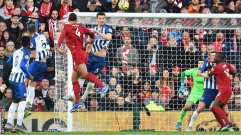 Liverpool's Virgil van Dijk scores against Brighton