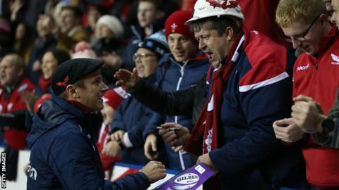 Brad Mooar with Scarlets fans