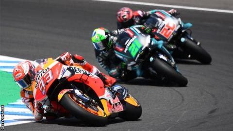 Marc Marquez did not look back after passing Fabio Quartararo and Franco Morbidelli at the start