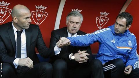 Paul Clement, Zinedine Zidane and Carlo Ancelotti